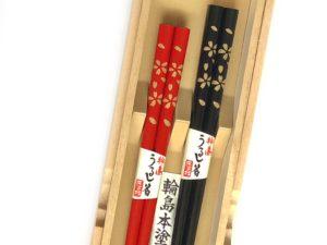 うるし箸【二面桜】
